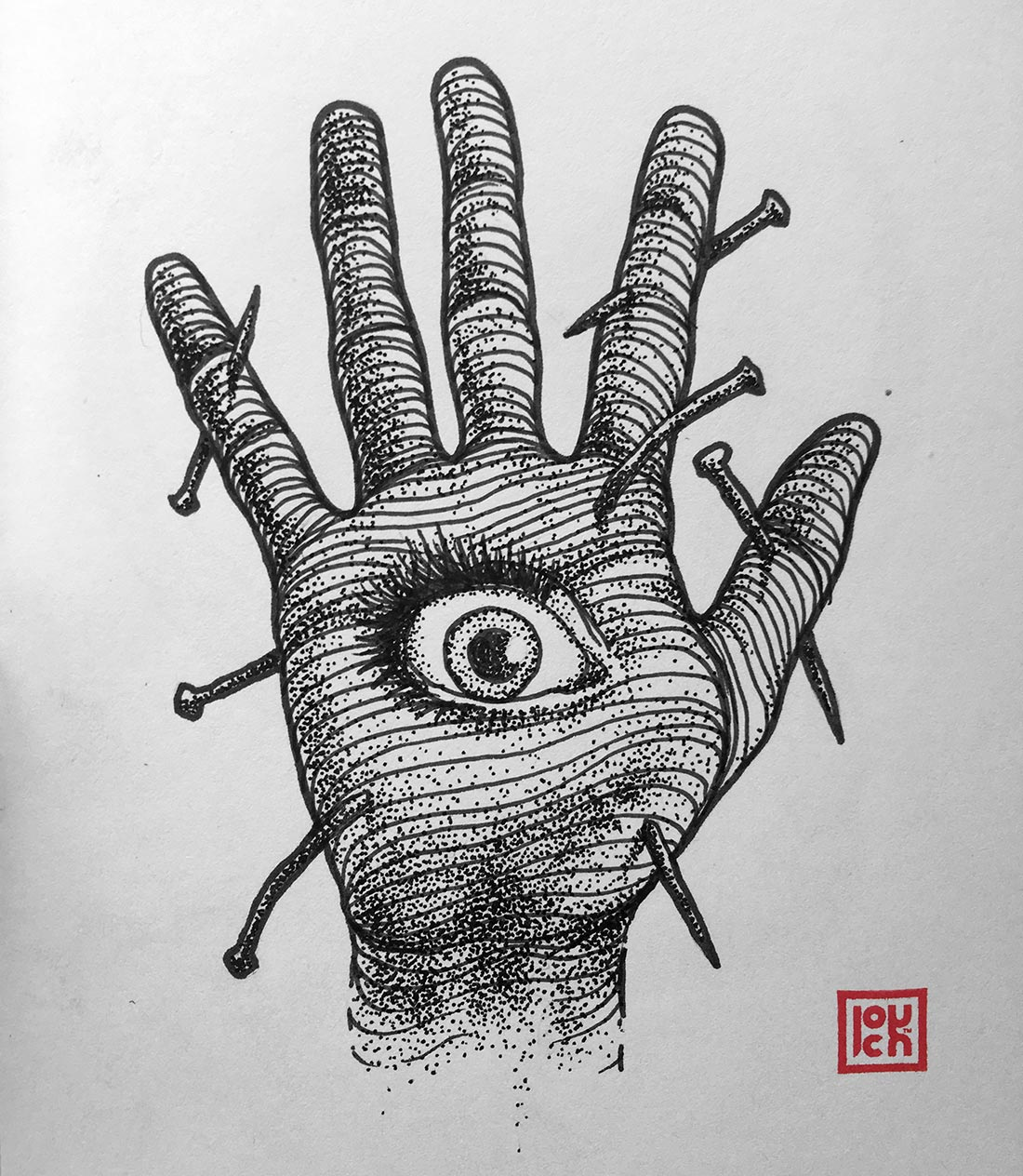 Illustration Tattoos: Nailed Eyed Hand